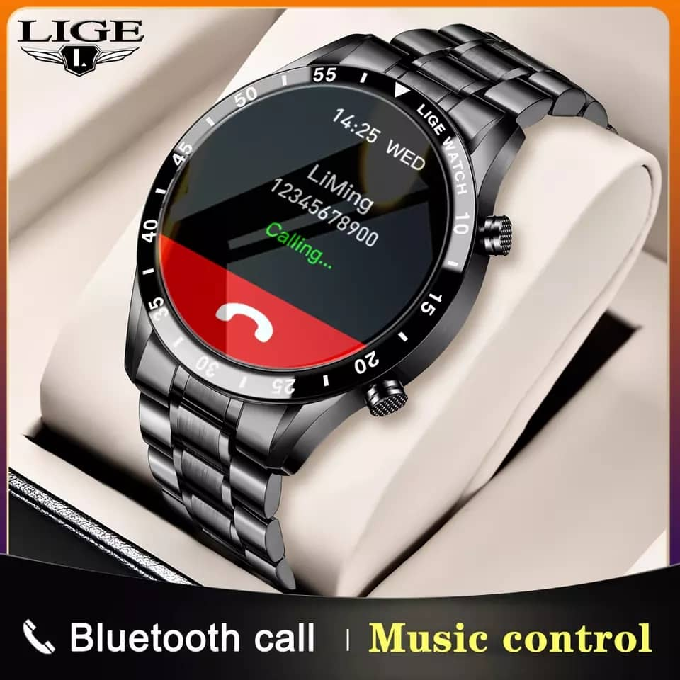 LIGE Steel Band Smartwatch With Full Circle Touch Screen For Sports And Business